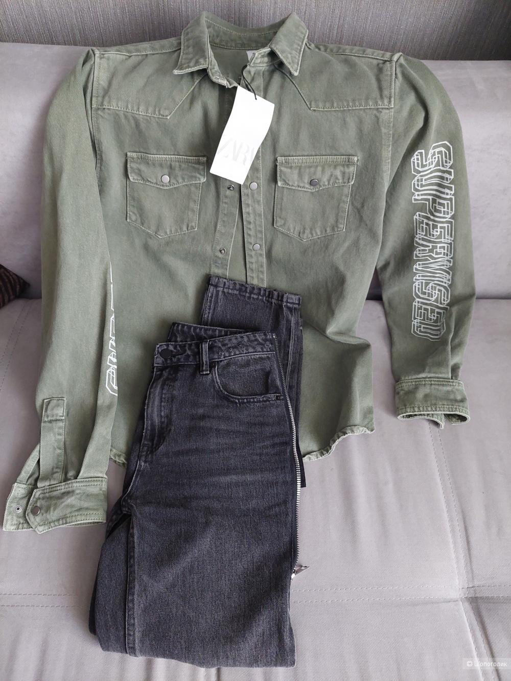 Новая джинсовая рубашка  ZARA размер S унисекс