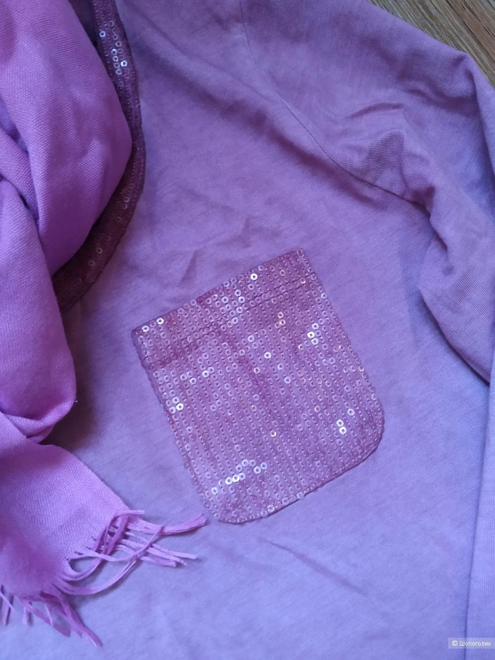 Сет брюки one look+футболка +шарф no name размер 46/48