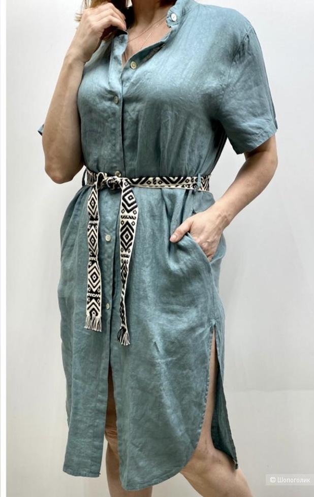 Платье лен 100% lino, aqua limone SALE, one size