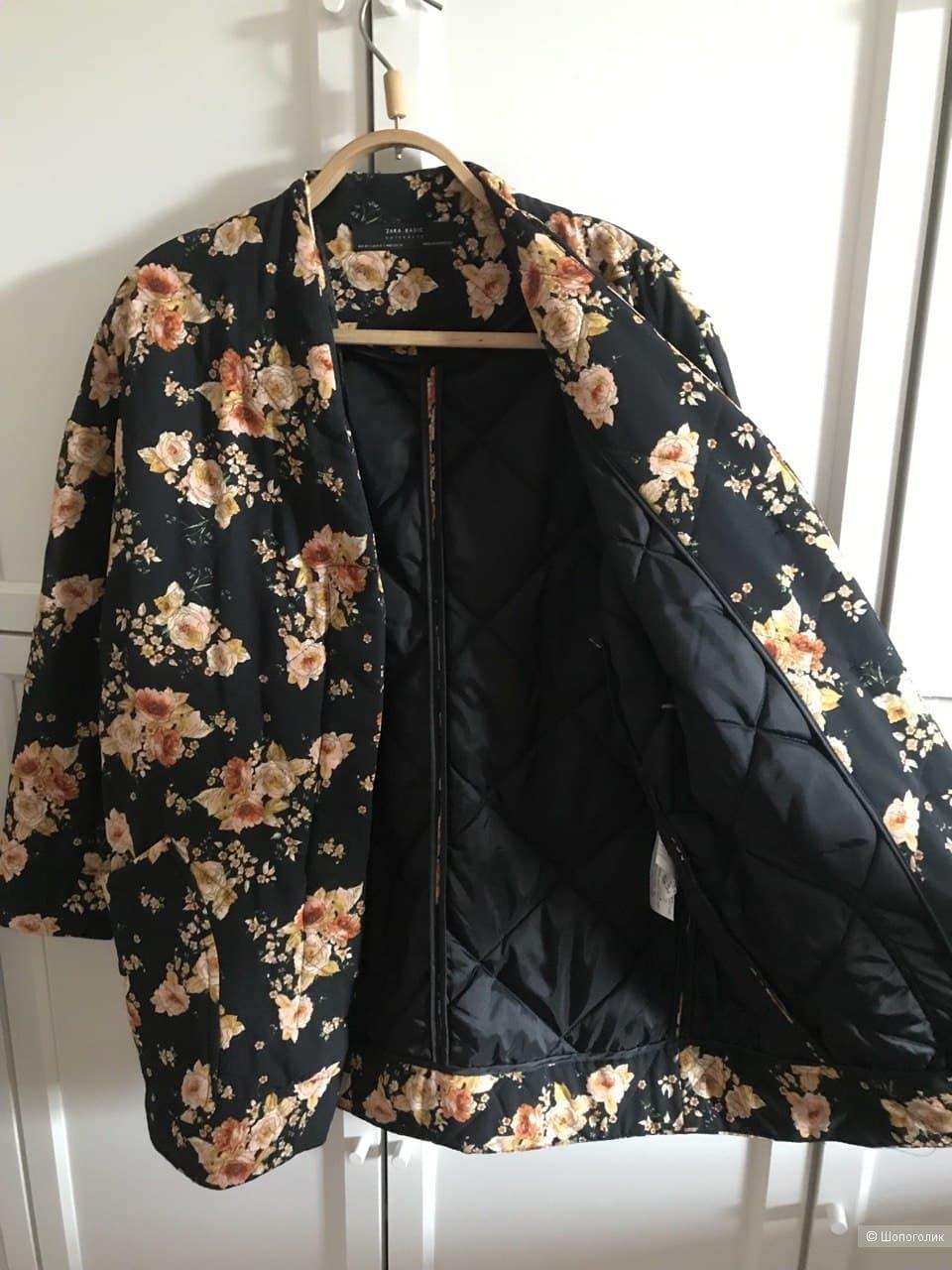 Стеганое пальто Зара оверсайз с цветочным принтом, S-M