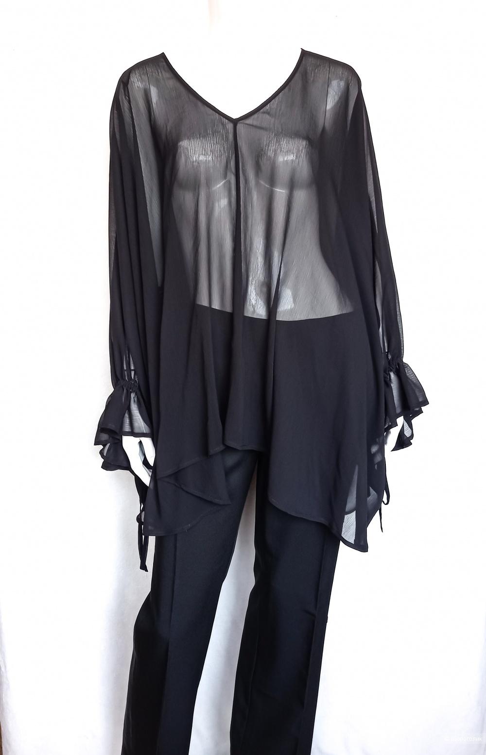Блузка туника накидка  чёрная TWINSET M, oversize, S L XL