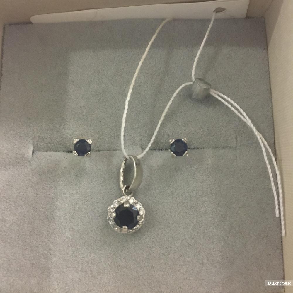 Серьги - пусеты из серебра SOKOLOV (серебро, сапфир)