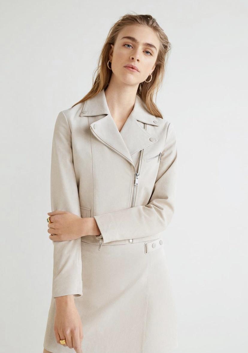 Кожаная куртка Mango, M-L