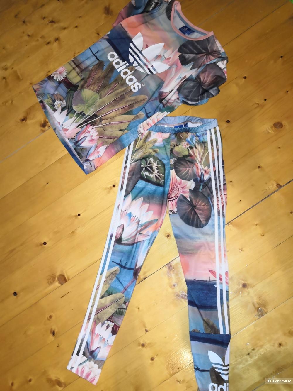 Adidas спортивный комплект футболка и леггинсы