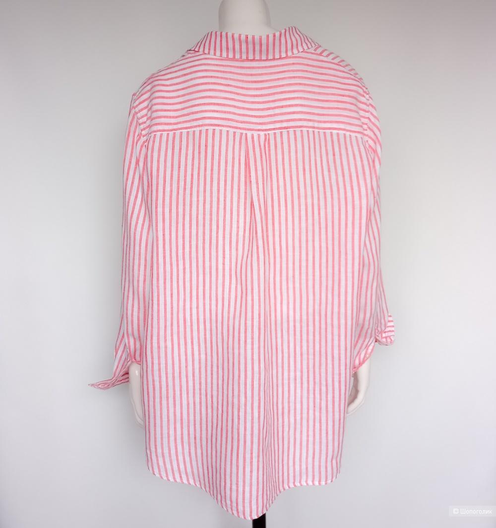 Рубашка льняная в полоску H&M+  XL XXL , oversize