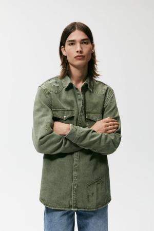 Джинсовая куртка-рубашка Zara размер S или М