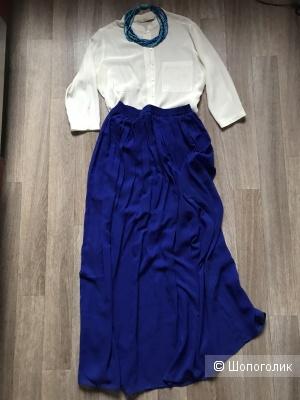 Комплект блузка Zara,юбка Zara,колье Zara,44рус\one size