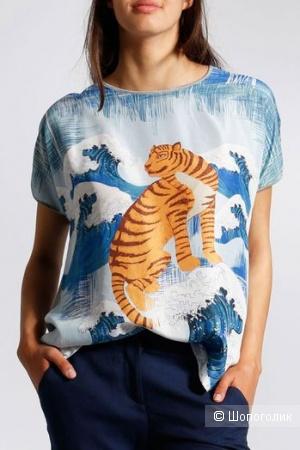 Шелковая блузка (футболка) бренда Anni Carlsson, размер S/M/L/XL/XXL