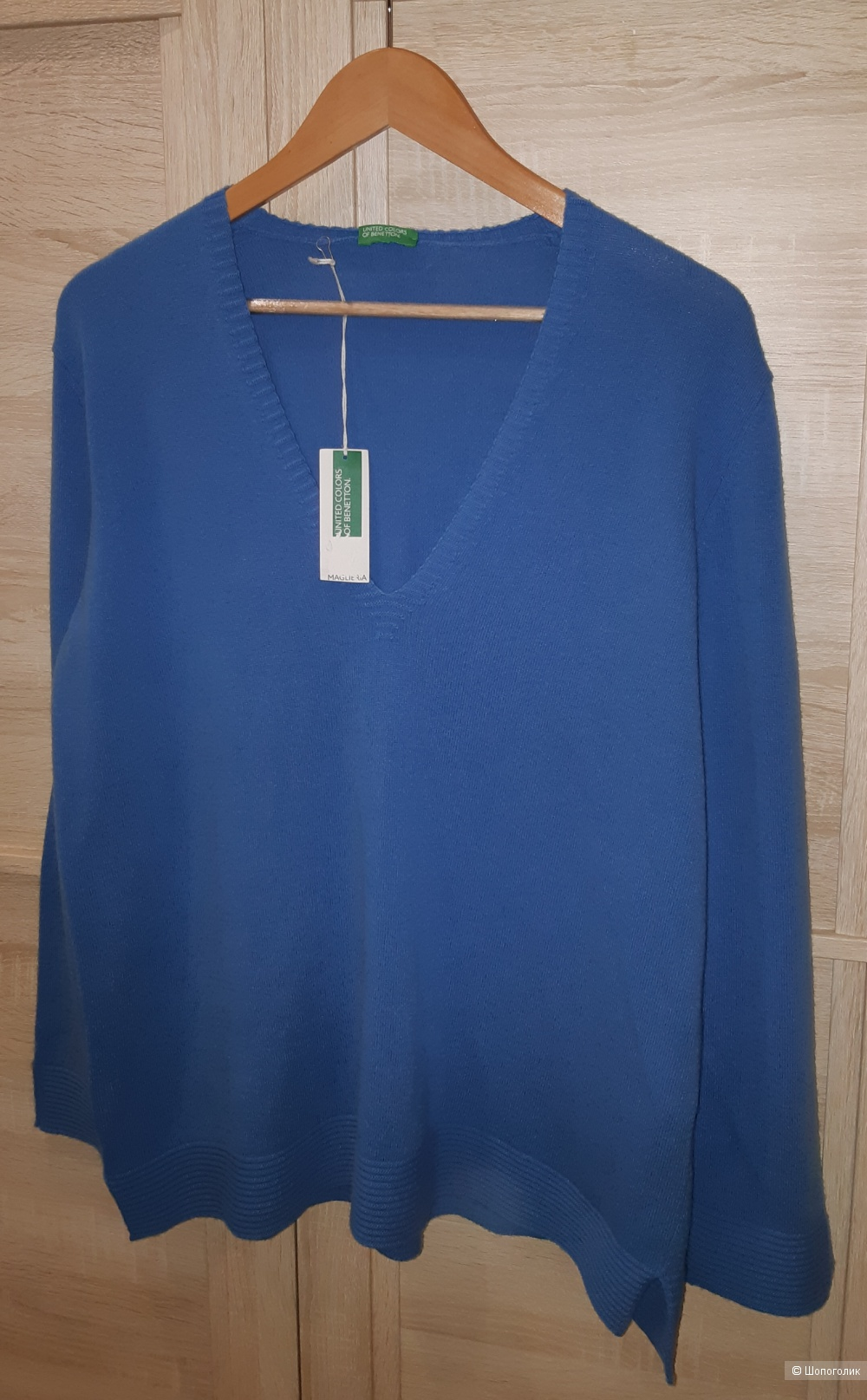 Шерстяной свитер benetton, размер l