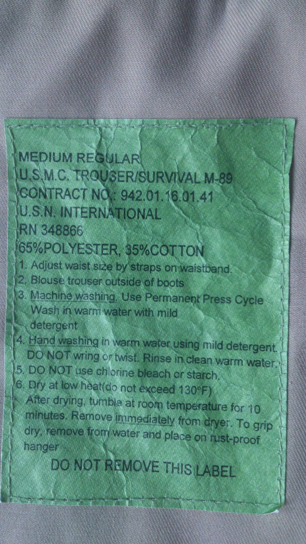 Брюки морского пехотинца США U.S.M.C.trouser/survival M - 89  M - R
