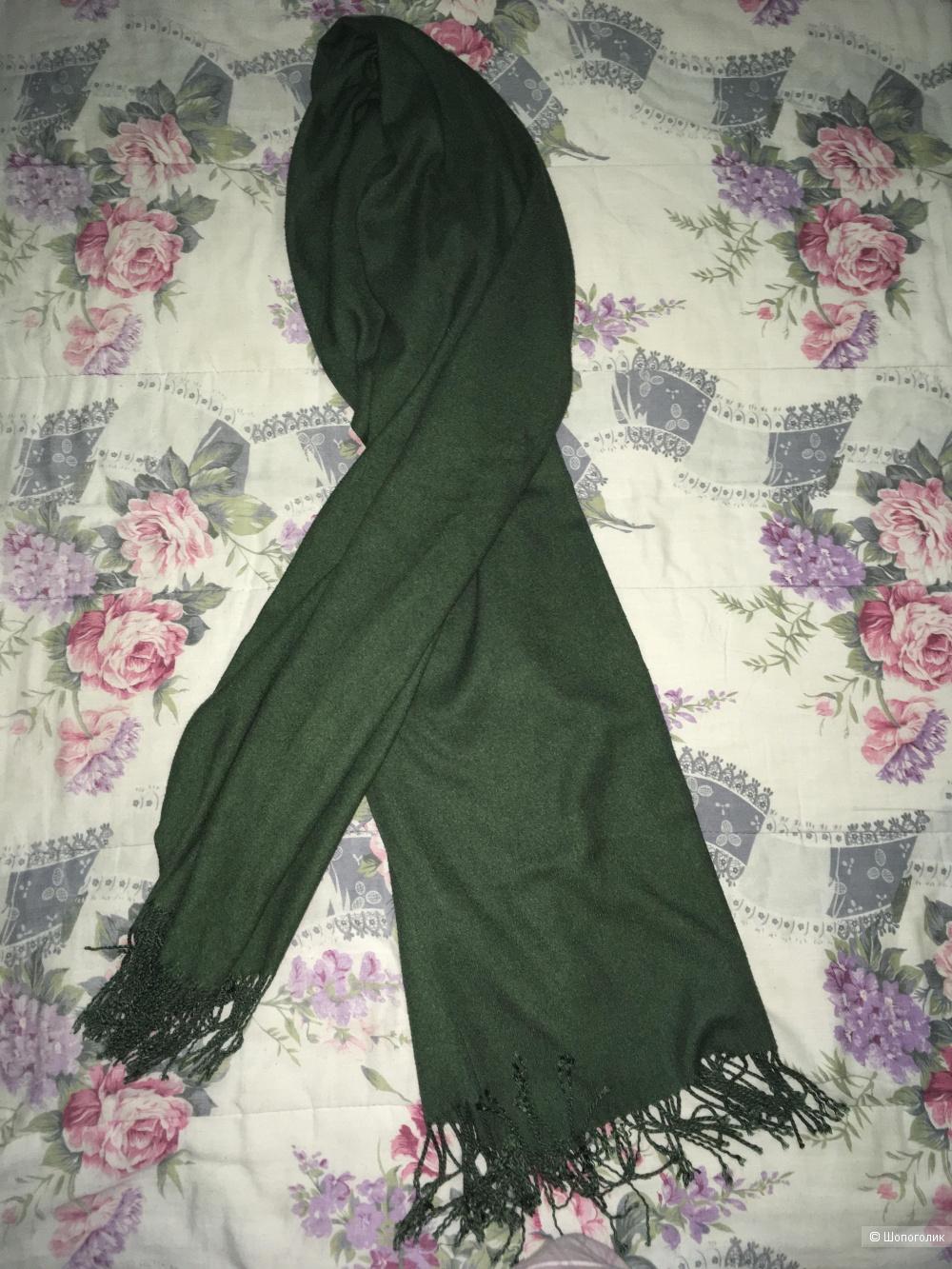 Зелёный шерстяной шарф no name 184*65,5