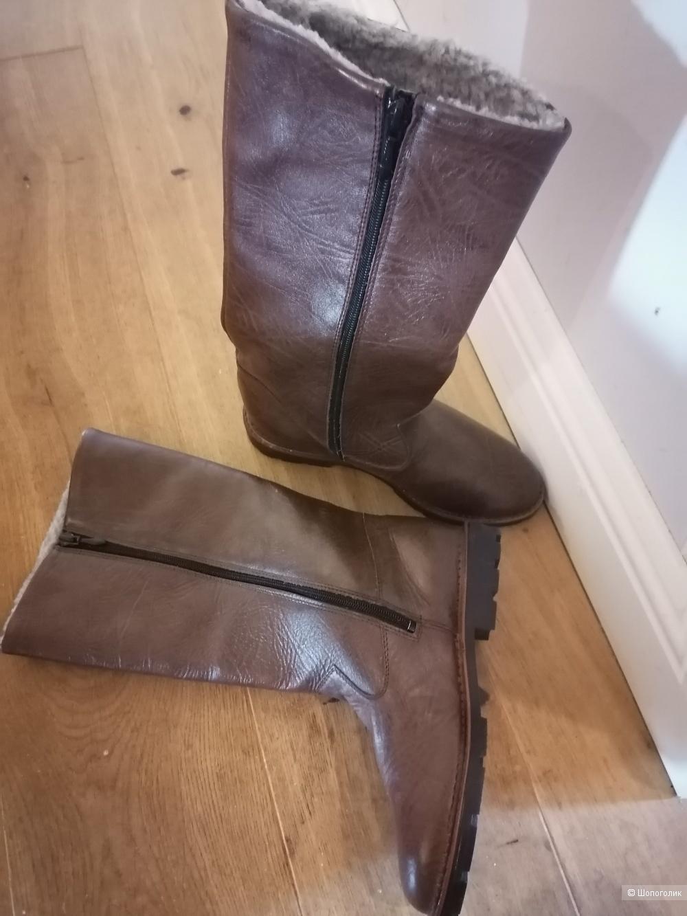 Кожаные сапоги на меху Centrotextil размер 37,5
