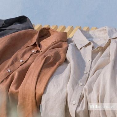 Льняная рубашка uniqlo, размер 46+-