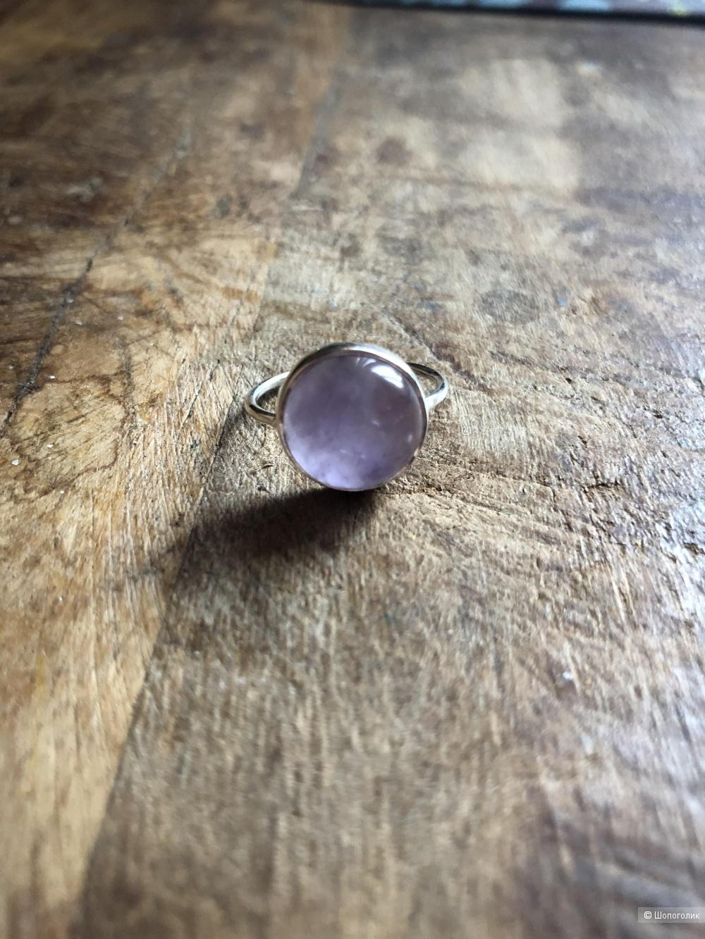 Кольцо серебро с аметистом 16,8 размер