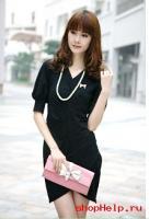 Черное платье с диагональными складками 303856.