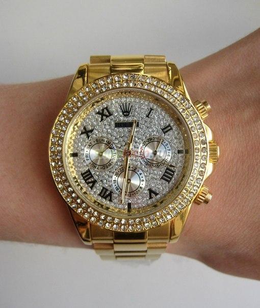 Часы Rolex Daytona со стразами, золотой циферблат +Подарки: Подарочная коробка для наручных часов