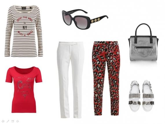 Сандалии на плоском ходу с металлическими аппликациями, массивные солнцезащитные очки, металлизированная сумка, яркий трикотажный топ, тельняшка с принтом.