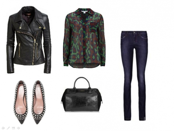Джинсы-скинни, балетки, сумка-саквояж, кожаная куртка, шелковая блузка с анималистичным принтом.