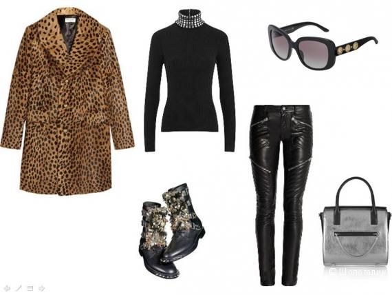 Кожаные брюки, обильно декорированные крупными камнями кожаные боты, металлизированная сумка, водолазка, крупные солнцезащитные очки.