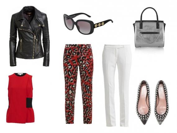 Кожаная куртка, декорированные шипами балетки, металлизированная сумка, яркий шёлковый топ без рукавов.