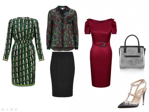 Шёлковое платье с принтом, шёлковая блузка, юбка-карандаш по фигуре, трикотажное платье приглушённого цвета с рукавами-буфф, металлизированная сумка, остроносые туфли.