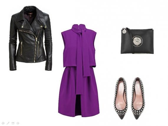 Яркое шёлковое платье комфортной длины, кожаная куртка, клатч с металлической аппликацией.