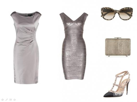Шёлковое светлое платье, остроносые туфли на каблуке, металлизированный клатч, броские солнечные очки.