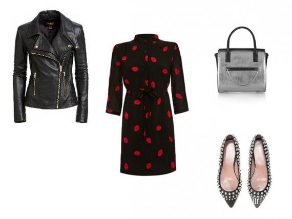 Кожаная куртка, чёрное платье на подкладе, балетки, декорированные скруглённым шипом, металлизированная сумка.