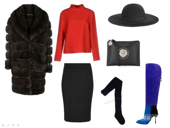 Чёрная юбка по фигуре оптимальной длины, рельефная шуба, клатч из матовой кожи с металлической аппликацией, остроносые замшевые сапоги с металлической аппликацией, яркая блуза из тканой шерсти.
