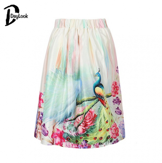 Летняя юбка с павлинами на Aliexpress
