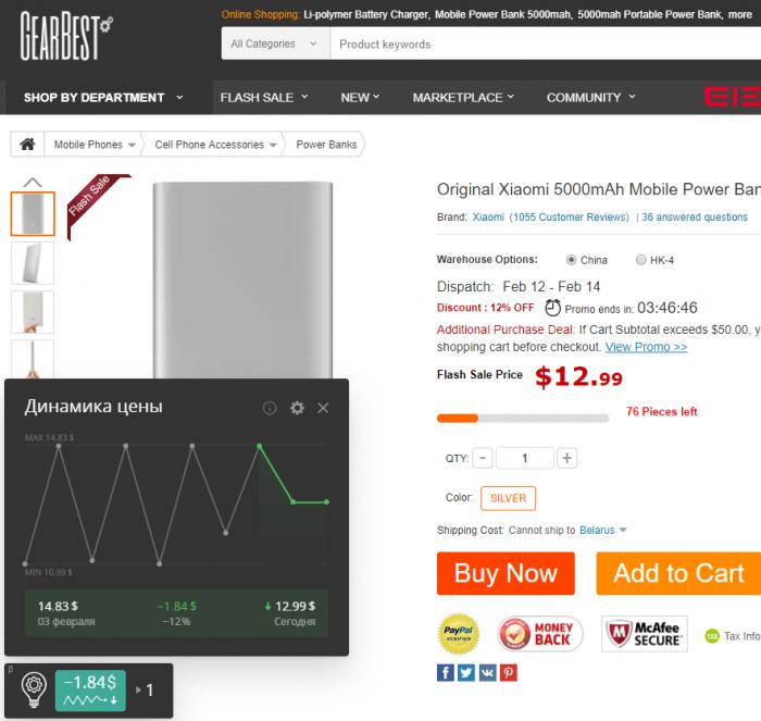 Динамика цены показывает, что скидка 12 % на power bank с GearBest реальная.