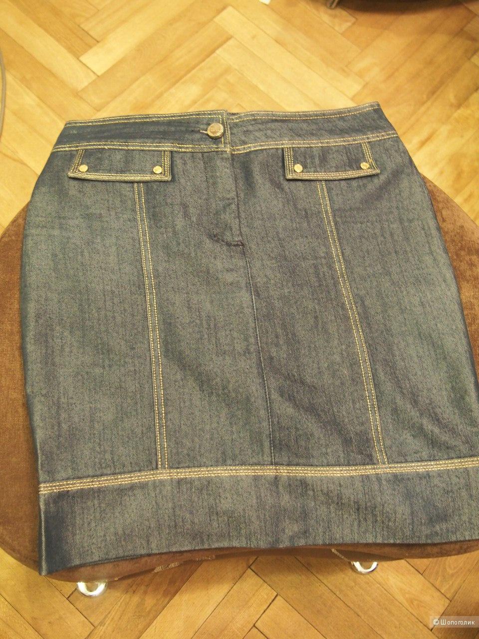 Юбка из джинс и ткани