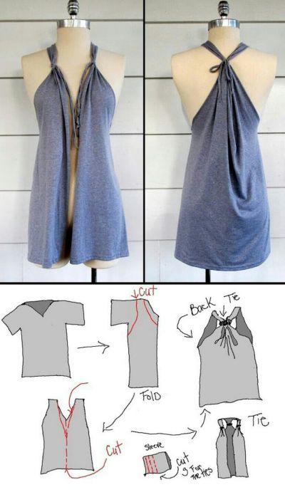 16325281fac Топ с заклепками из футболки Сделав обычные разрезы на футболке и добавив к  ним заклепки
