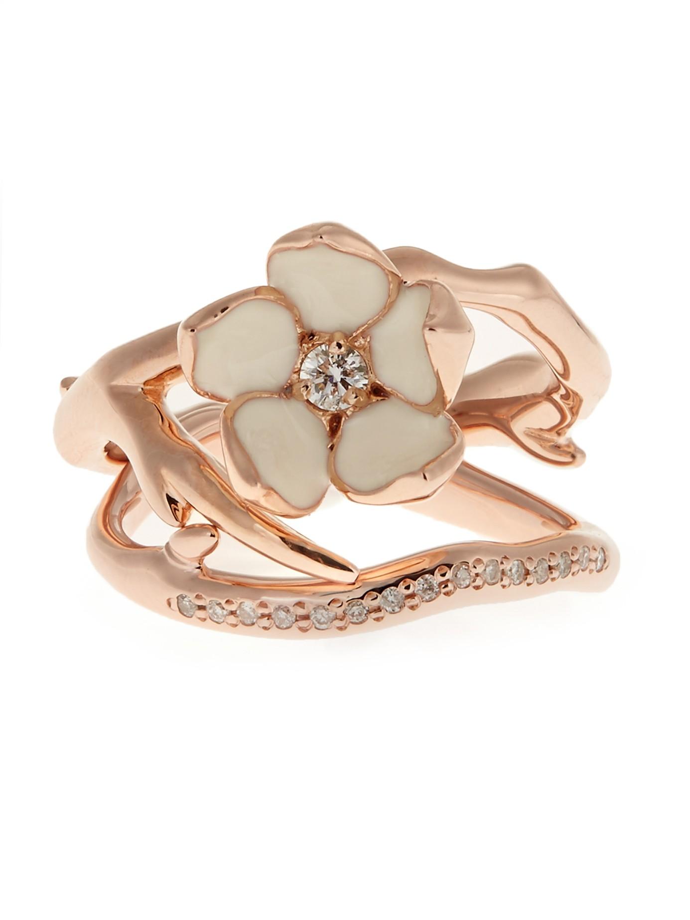 Серебряные кольцо-сакура Shaun Leane в Matchesfashion